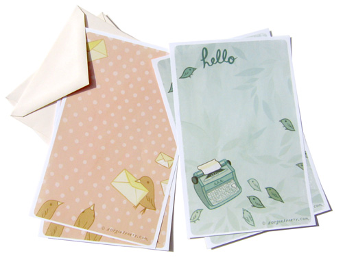 le boygirlparty shoppe: stationery details :  blue letter sheets full color cream